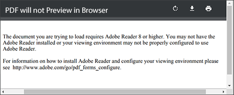 PDF will not preview in the browser